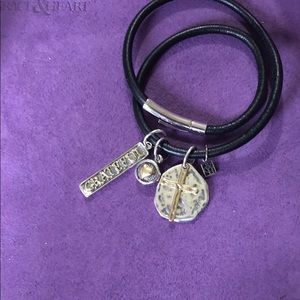"Grace & Heart Lariat Leather Wrap Braclt. 15.5"" +"